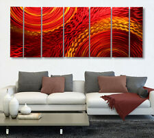 Contemporary Abstract Metal Wall Art Hand Painted Red/Gold - Harvest Moods XL