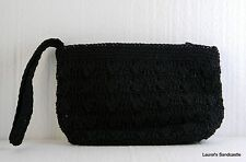 Black Crochet Macramé Purse Clutch Evening Bag, Kathie Lee Collection NEW