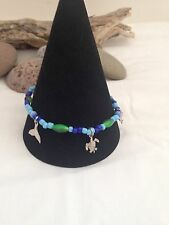 Stunning Blue Beads Pewter /Whale Tail/Dolphin/Turtle Anklet-Free P & P-UK