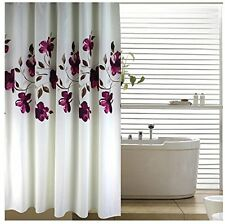 Floral Fabric Shower Curtain Polyester Waterproof Bathroom Bath Home Free Rings