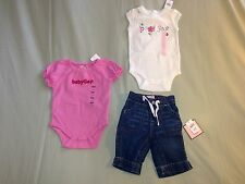 NEW 3 6 MONTHS GAP KIDS BODYSUIT 3 PIECE LOT JEANS CLAM DIGGERS PINK WHITE CUTE!