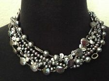 EXEX, CLAUDIA AGUDELO,STERLING SILVER FIVE STRAND FRESH WATER PEARL NECKLACE 18""