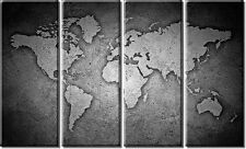 4 Panel Framed Black And White Stone World Map Canvas Print