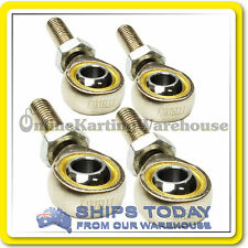 GO KART TIE ROD ENDS POS8 HEAVY DUTY CHROME POLISHED SET 4 W/LOCK NUTS KARTELLI