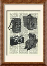 Art Print - Vintage Camera - on Antique Book Page - Brownie Rolleiflex Leica