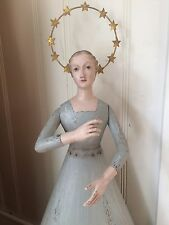 BLUE SANTOS ANGEL METAL AND WOOD with GOLDEN CROWN HALO of STARS CAGE DOLL