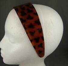 "Brown Headband 2"" wide Tortoise plastic hair band accessory grip teeth"