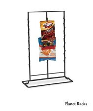 1 Planet Racks Triple 3 Row Wire Snack Chip Standing Clip Strip Display - Black