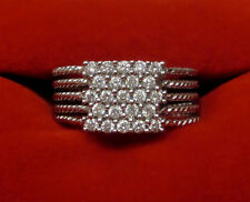 Natural Real .34 CT Diamond Pave Multi Band Ring Solid 14k White Gold Sz 5.75