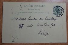 1891 Belgium Postal Card Sent From Bruxelles To Liege