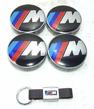4 x 60mm BMW M Sport Wheel Caps With M Sport Leather Key Ring Brand New