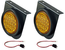 "2 LED Amber 4"" Round Strobe Lights Metal Bracket Kits"