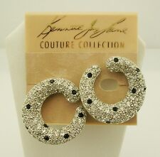 """Kenneth Jay Lane Pave CLIP ON Earrings  1 1/8"""" """" Made in USA"""""""