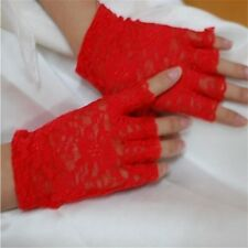 Goth/Halloween/Party red Sexy  Lace Gloves- Fingerless Style-BURLESQUE/COSPLAY