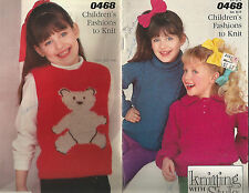 CHILDREN'S SWEATERS & VEST KNITTING PATTERNS: BOW, BEAR, CARDIGAN, POLO COLLAR +