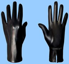 NEW MENS size 8 or small UNLINED BLACK GENUINE KID LEATHER DRESS GLOVES