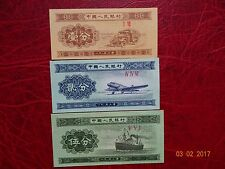 1953  People's Republic of China, 1-Fen, 2-Fen, 5-Fen banknotes  UNC.