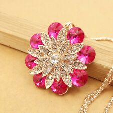 Fashion Rose red flowers Pendant chain charm Long necklace Sweater chain HH571
