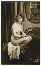READING NUDE WOMAN / LESENDE NACKTE FRAU * Vintage 10s French Risque Photo PC