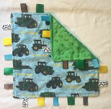 Handmade Security Tag Baby Blanket - John Deere Tractor - Blue Green Yellow Farm