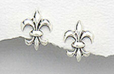 Sterling Silver 14mm Fleur des Lis Stud Earrings + Premium Heavy Duty Backs 1.7g