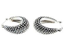 """Vintage Sterling Silver Oval hoop Earrings 7mm .75"""""""