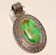 COPPER GREEN TURQUOISE VINTAGE STYLE 925 STERLING SILVER PENDANT 2.35""