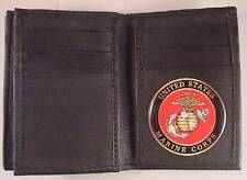 USMC US MARINE CORPS BLACK SOFT LEATHER 20 CREDIT CARD WALLET ID FLAP