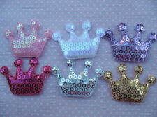 10 x 1.5 INCH SEQUIN CROWN PADDED APPLIQUE EMBELLISHMENT HEADBANDS RANDOM MIX
