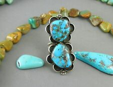 """Big 2"""" FABULOUS Speckled Blue Pyrite Quartz Morenci Navajo Style Turquoise Ring"""