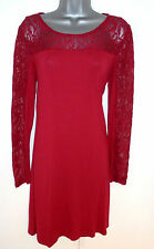 Stunning Next Red Lace Panel Day Evening Occasion Dress Size 12