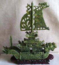 Vintage Chinese Green Jade Fengshui Carved Dragon Boat Ship Statue