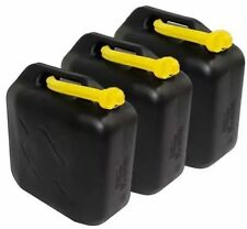 3x 20 L Black Plastic Jerry Cans Diesel Petrol Fuel Water + 3 flexible Spouts UK