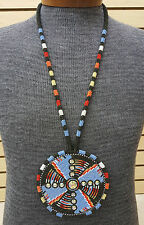 LRG HAND CRAFTED BEADED GEOMETRIC DESIGN ROSETTE NATIVE AMERICAN INDIAN NECKLACE