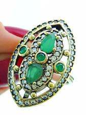Handcrafted Artisan Jewelry 925 Sterling Silver Emerald Ring Size 8 R2249