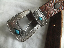 Mens Tanned Leather Brown Belt With Silver & Turquoise Accents Sz 38
