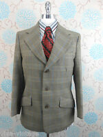 Vintage 1960s Men's Guards Brown Thornproof Tweed Retro Hacking Jacket Blazer S