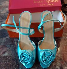 KATE SPADE EPHIE TURQUOISE BLUE Satin DRESSY FLOWER Shoes Sz 9.5M  9.5 M PERFECT