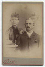 CABINET CARD COUPLE WHO NEVER HAVE ANY FUN. MONMOUTH, ILLINOIS.