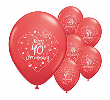 "16 x 40th RUBY ANNIVERSARY 11"" HELIUM QUALITY PEARLISED BALLOONS (PA)"