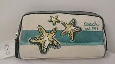 COACH BEACH STARFISH MOTIF COSMETIC CASE TEAL F47482--NEW