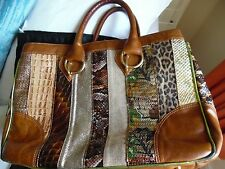 Beverly Feldman - Russell & Bromley Tan/Gold/Sequin Leather Patchwork tote bag -