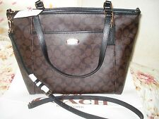 NWT COACH PEYTON SIGNATURE POCKET TOTE F33998 Brown/Black  MSRP $395