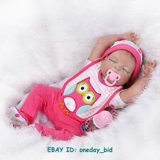 "22"" Lifelike Reborn Doll girl Vinyl Handmade Baby w Pacifier full Body Silicone"