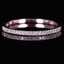 Solid 10K Rose Gold Over Diamond Engagement Wedding Eternity Matching Band Ring