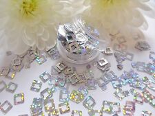 Nail Art Sparkle Silver Holographic *Squares* Pot Spangle Glitter Tip Decoration