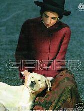 Publicité advertising 1990 Pret à porter vetement Geiger