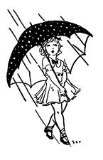 """Clear stamp (2.5""""x3"""") Girl in the Rain FLONZ vintage unmounted acrylic"""