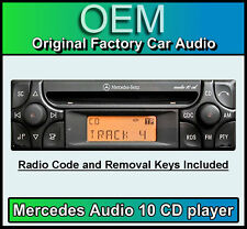 Mercedes E-Class Audio 10 CD player, Merc W210 car stereo + radio code and keys