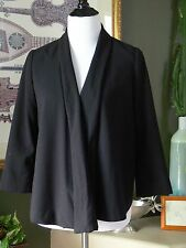 H&M Black Open Draped 3/4 Sleeve Lined Jacket 6